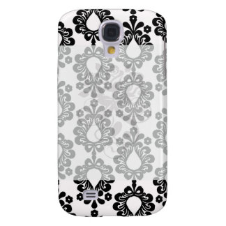 white and black small flower teardrop damask samsung galaxy s4 cover