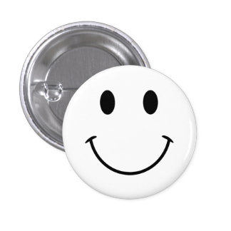 White and Black Smiley Face Pinback Button