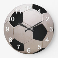 White and Black Soccer Ball Clock