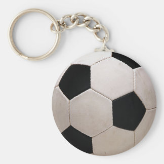 White and Black Soccer Ball Keychain