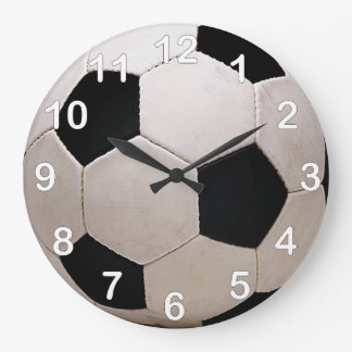 White and Black Soccer Ball Large Clock