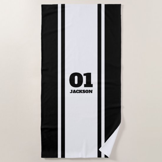 White and Black Sports Stripe Name & Number Beach Towel
