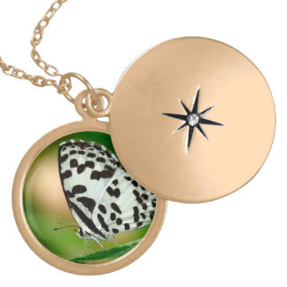 White and Black Spotted Pierrot Butterfly Gold Plated Necklace