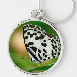 White and Black Spotted Pierrot Butterfly Keychain
