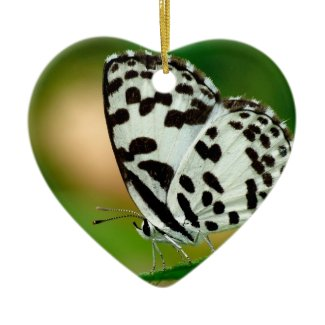 White and Black Spotted Pierrot Butterfly Christmas Tree Ornaments