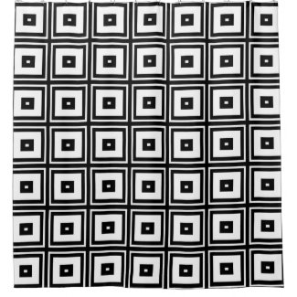 White and Black Square Abstract Shower Curtain