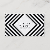 White and Black Square Lines Minimalist Geometric Business Card
