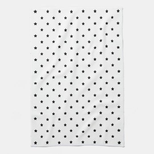 White and Black Star Pattern. Kitchen Towel