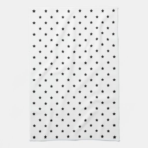 White and Black Star Pattern. Kitchen Towels