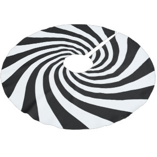 White and Black Starburst Twirl Brushed Polyester Tree Skirt