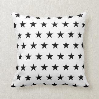White and Black Stars Throw Pillow