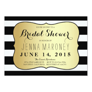 White and Black Stripes w/ Gold Foil Bridal Shower Card