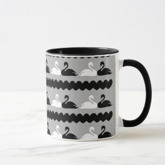 White and Black Swans with Hearts Mug