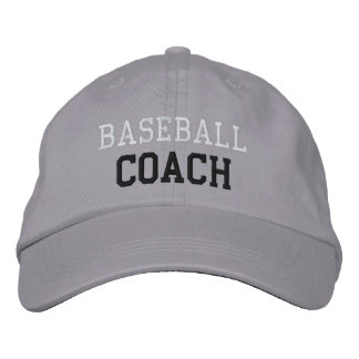 White and Black Text Baseball Coach Hat Embroidered Hat
