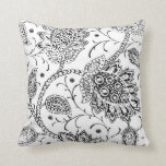 White and Black Toile Floral Accent Pillow