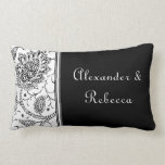 White and Black Toile Personalized Name Pillow