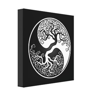 White and Black Tree of Life Yin Yang Canvas Print
