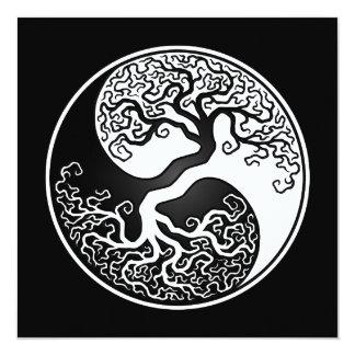 White and Black Tree of Life Yin Yang Card