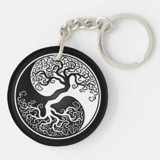 White and Black Tree of Life Yin Yang Keychain