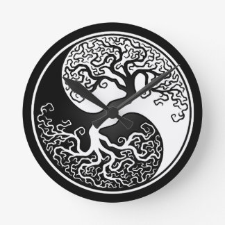 White and Black Tree of Life Yin Yang Round Clock