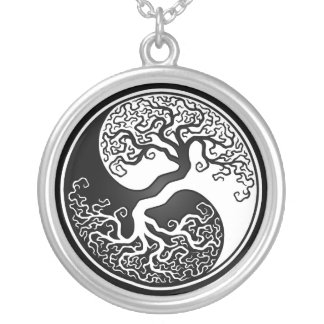 White and Black Tree of Life Yin Yang Round Pendant Necklace