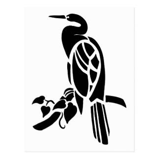White and black vector art, birds: heron in tree postcard