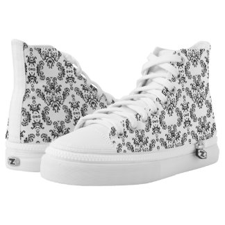 White and Black vintage damask pattern High-Top Sneakers