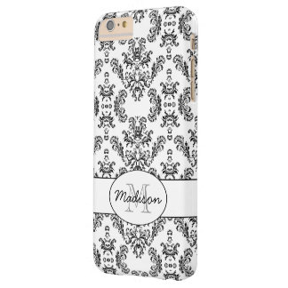 White and Black vintage damask pattern Monogram Barely There iPhone 6 Plus Case