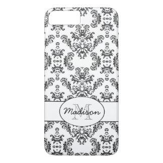 White and Black vintage damask pattern Monogram iPhone 7 Plus Case