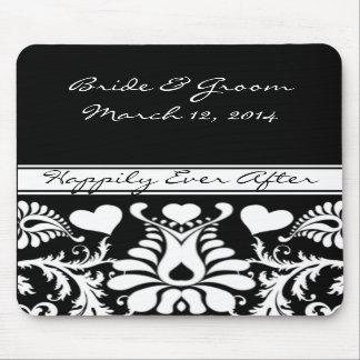 White and Black  Vintage Floral Wedding MousePad