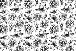 Black and white flower fabric zazzle white and black vintage flowers drawing fabric mightylinksfo