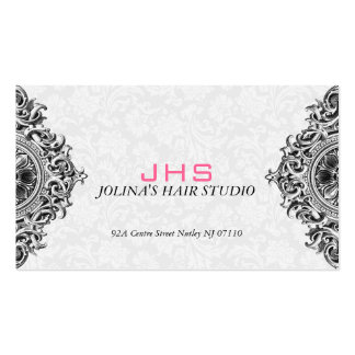 White And Black Vintage Ornament Appointment Card Business Card Template