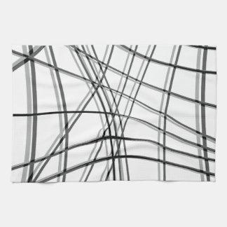 White and black warped lines kitchen towel