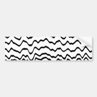 White and Black Waves Pattern. Bumper Sticker