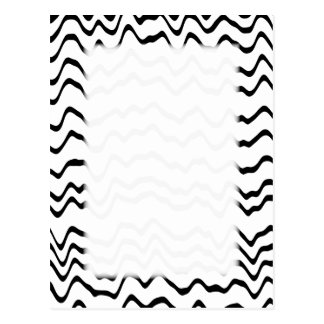 White and Black Waves Pattern. Postcard
