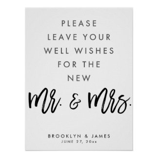 White And Black Well Wishes Wedding Sign