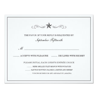 White and Black Western RSVP (WITH MENU ITEMS) Card