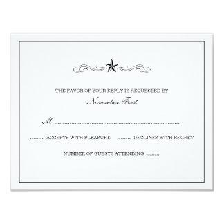 White and Black Western Wedding RSVP Card