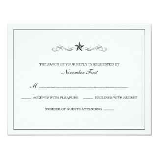 White and Black Western Wedding RSVP Announcements