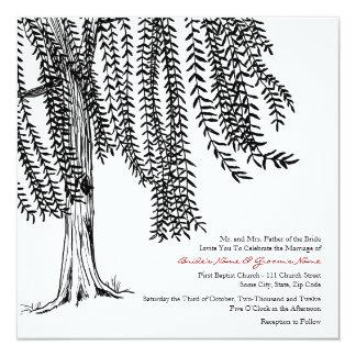 White and Black Willow Tree Wedding Invitation