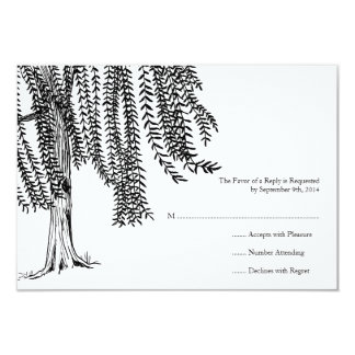 White and Black Willow Tree Wedding RSVP Card