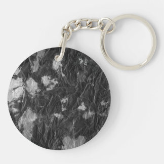 white and black wrinkled paper towel image keychain