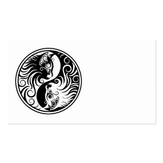 White and Black Yin Yang Cats Business Card Templates