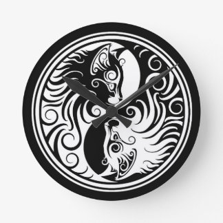 White and Black Yin Yang Cats Round Clock