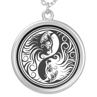 White and Black Yin Yang Cats Round Pendant Necklace