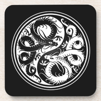 White and Black Yin Yang Chinese Dragons Drink Coaster