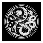 White and Black Yin Yang Chinese Dragons Poster
