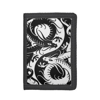 White and Black Yin Yang Chinese Dragons Trifold Wallet