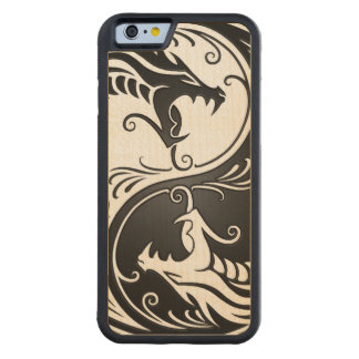 White and Black Yin Yang Dragons Carved® Maple iPhone 6 Bumper Case