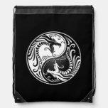 White and Black Yin Yang Dragons Cinch Bags